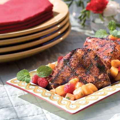 Prep: 20 min., Grill: 14 min. Be sure to try the Summertime Salsa over grilled fish or steak. It's also great served with your favorite chips or ice cream.Spice Rubbed Pork Chops With Summertime Salsa Recipe