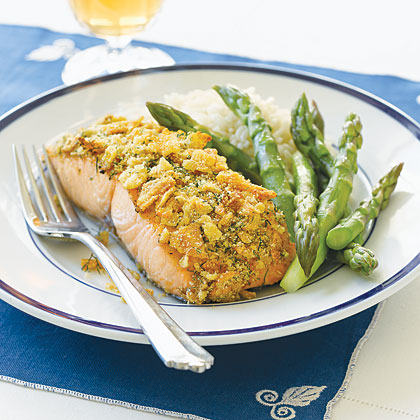Salmon Fillets with Potato Chip Crust