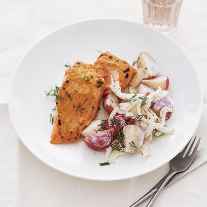 Mustard-Broiled Salmon with New Potato Salad