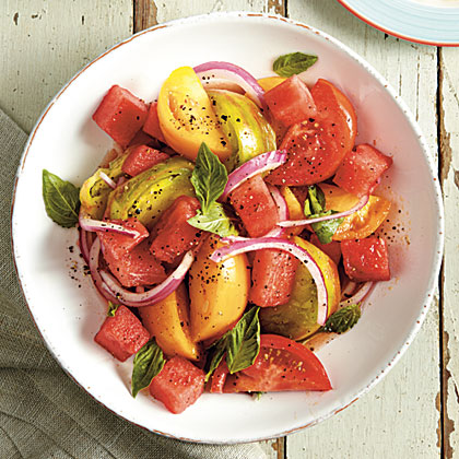 Tomato-and-Watermelon Salad RecipeWatermelon and tomato may seem an unlikely combination, but when you put them together you'll be amazed at how good they taste. There's a healthful bonus too. Both are high in lycopene, which helps prevent certain types of cancer.