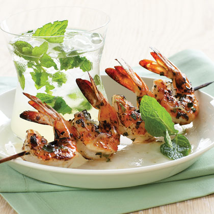 Shrimp: Mojito Shrimp RecipeHow do you pair all the mint and lime in this marinade? Pour a racy Sauvignon Blanc from California or New Zealand. You need a wine with great acidity, an herbal quality, and citrus flavors–good fruit in general, in fact, to add a fun match for the rum.