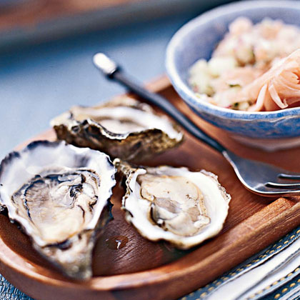 Oysters on the Half Shell with Pickled-ginger Salsa