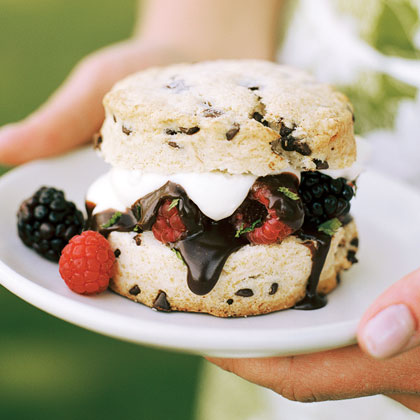 Chocolate-chip Shortcakes with Berries and Dark Chocolate Sauce