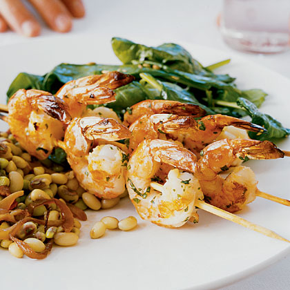 Herb Grilled Shrimp and Wilted Spinach with Fennel Recipe