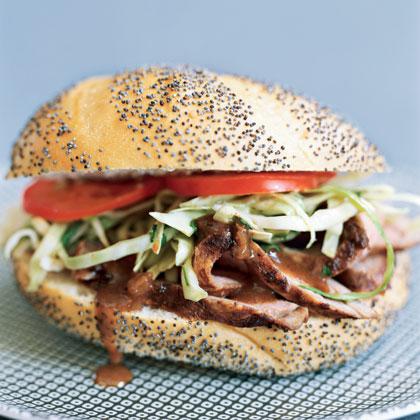 Pork Tenderloin Sandwiches with Cilantro Slaw