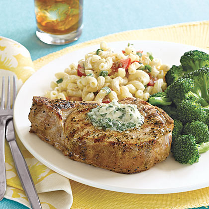 Grilled Pork Chops with Herb Butter