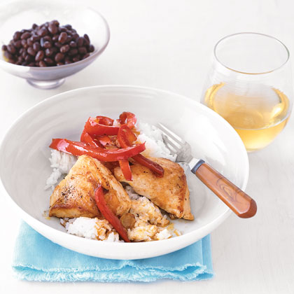 Simplify dinner by cooking the chicken and peppers in a skillet first, then cooking the bean side dish in the same skillet after you remove the chicken.Chicken and Peppers with Coconut Rice Recipe