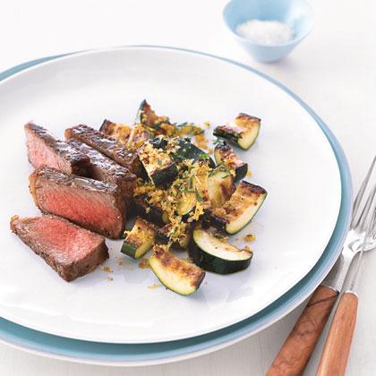 Steak with Golden Zucchini