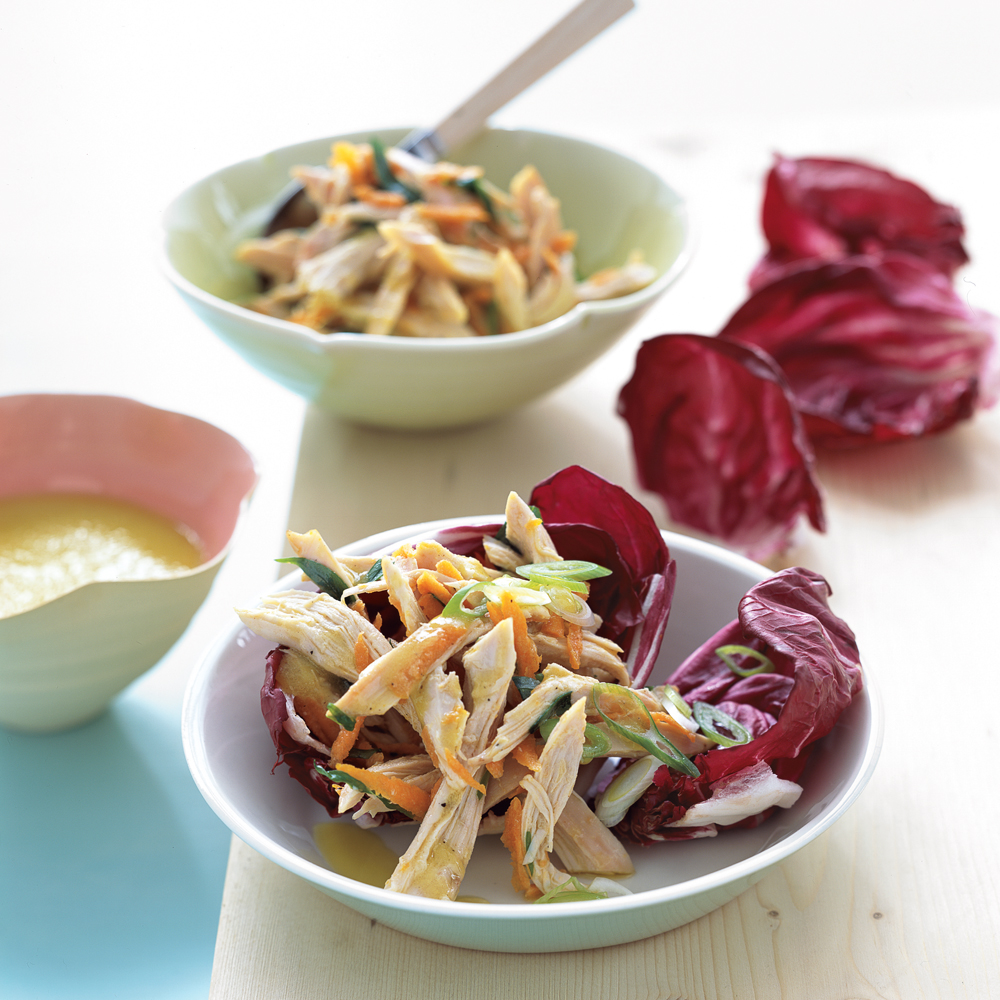 "Chicken Salad in Radicchio Cups RecipeWhen you don't feel like ""cooking,"" assemble this no-cook, protein-packed salad for a satisfying and flavorful supper. Top with toasted, slivered almonds for added crunch."
