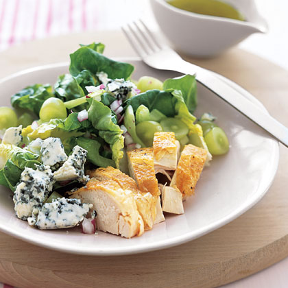 Roast Chicken with Grape and Blue Cheese Salad Recipe