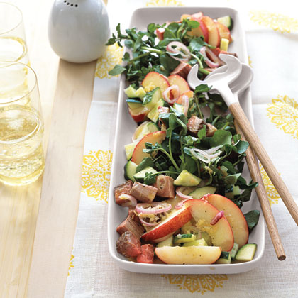 """Beef, Watercress, and Peach Salad with Lime Vinaigrette"""
