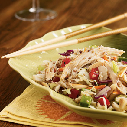 Whether you eat this cool and delicious dish on its own or loaded into a wrap, it's guaranteed to satisfy an appetite of any size. Combine the ingredients of the slaw with the homemade dressing and top with slivered almonds and sesame seeds before serving. Toast the almonds and seeds if you like, or skip that step to keep the recipe completely no-cook.Asian Chicken Slaw Recipe