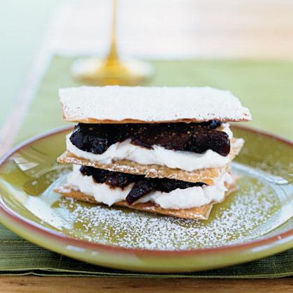 Port-Fig Napoleons with Walnut Oil and Honey Cream