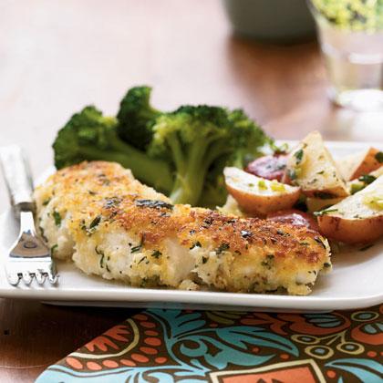 Garlic-and-Herb Oven-Fried Halibut Menu