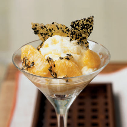 Warm Oranges in Sake Cream with Sesame Brittle