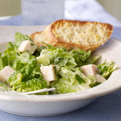 Chop oven-roasted turkey breast from the deli counter into chunks for a quick start on this salad. With crisp parmesan toasts, it's a complete meal.Watch the VideoRomaine and Turkey Salad with Creamy Avocado Dressing Recipe