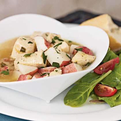 Braised Chicken with Red Potatoes and Tarragon Broth