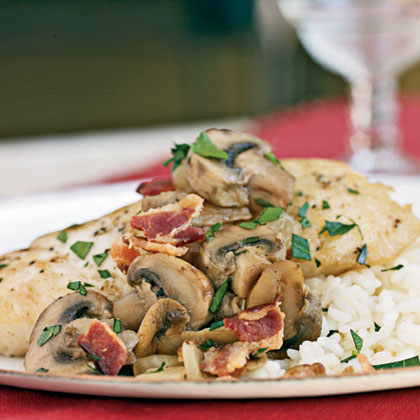 Braised Halibut with Bacon and Mushrooms Recipe