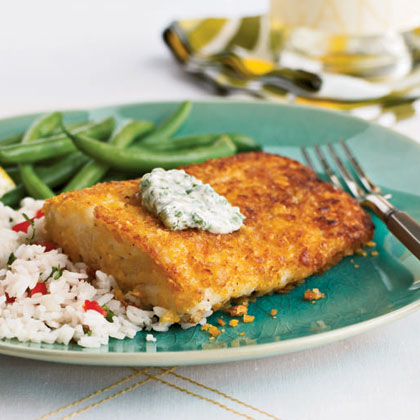 Cornflake-Crusted Halibut with Chile-Cilantro Aioli Recipe