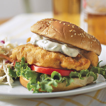 Fried fish sandwiches recipe myrecipes for Fish sandwich recipe
