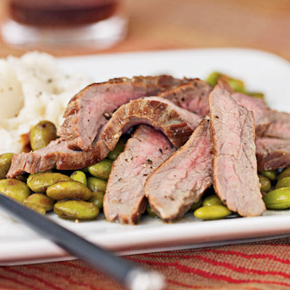 Flank Steak and Edamame with Wasabi Dressing Recipe | MyRecipes.com