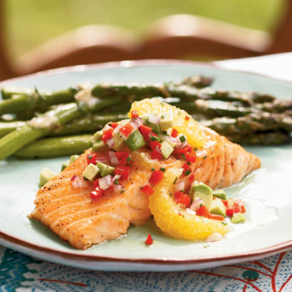 Cedar Plank-Grilled Salmon with Avocado-Orange Salsa