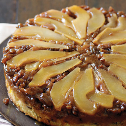 Pear and Pecan Upside-down Cake RecipeWhen cooked, Bosc pears have an appealing density and graininess that bring the tender bourbon-infused crumb of the cake down to earth beautifully. A rich flavor and soft crumb made this cake a favorite in our test kitchen.