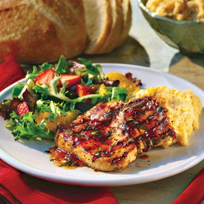 Perk up your pork chops with pepper jelly and garden-fresh basil.Jalapeño-Basil Pork Chops Recipe