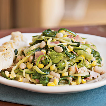 Sautéed Escarole, Corn, and White Bean Salad
