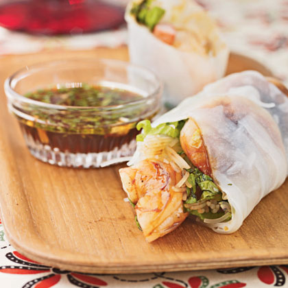 Novato, California, reader Cathy Jo Belford sent us this Asian-inspired appetizer for the April 2002 column. The fresh herbs, sweet shrimp, slight spicy heat, and crisp lettuce offer well-balanced taste and texture.Cambodian Summer Rolls Recipe