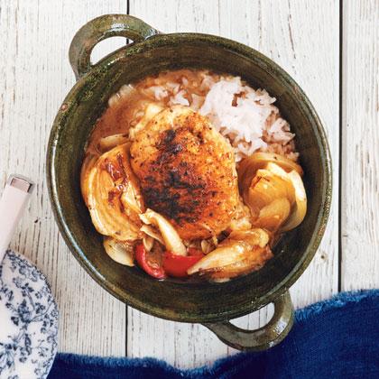 Chicken Thighs Braised in Garlic and White Wine