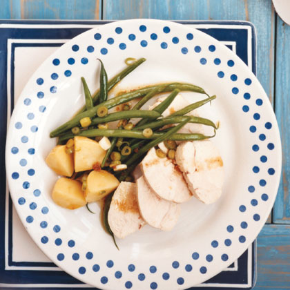 Gingery Poached Chicken Breasts with Green Beans and Potatoes Recipe