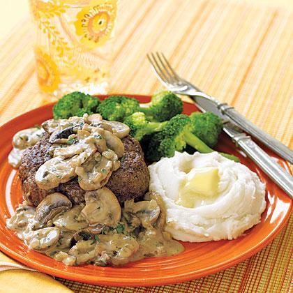 Ground Sirloin with Mushroom Cream Sauce