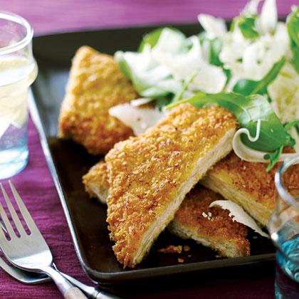 Pork Milanese with Arugula, Fennel, and Parmesan Salad