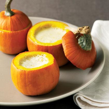 Baby Pumpkins with Garlic Custard