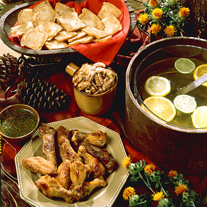 Pleasing Pickups MenuWith football season comes cool autumn breezes, packed stadiums, and a great excuse to entertain family and friends with these delicious dishes. Give ribs, glazed pecans, pesto dip with chips, and tea a try.