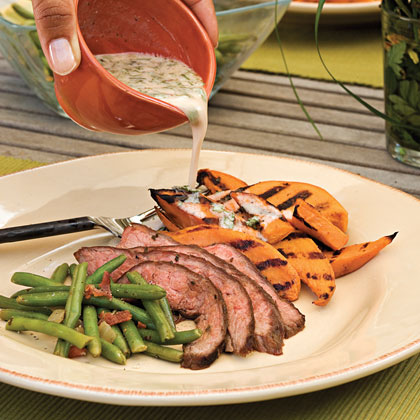 Spice-rubbed Flank Steak RecipeA blend of brown sugar, cumin, oregano, and garlic powder gives this flank steak just the right kick.