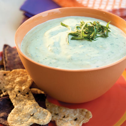 Green Dip With Spooky Chips Recipe