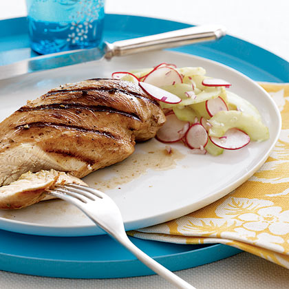 Grilled Chicken With Sweet-and-Sour Cucumber-Radish Salad Recipe