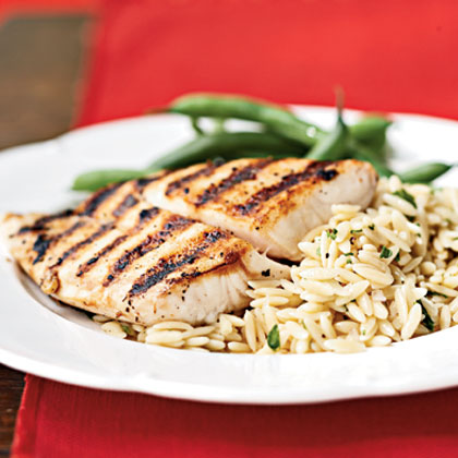 Pan grilled snapper with orzo pasta salad recipe myrecipes for Snappers fish chicken