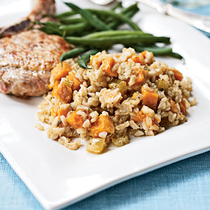 Roasted Pumpkin and Sweet Potato Pilau
