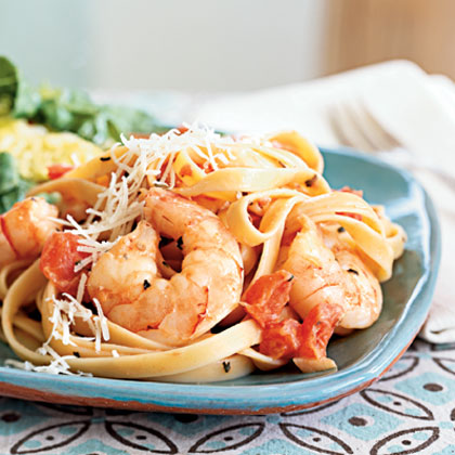 Spicy Shrimp and Fettuccine