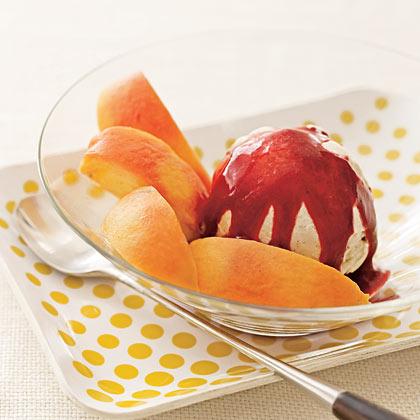 Strawberry-Studded Mango Sorbet