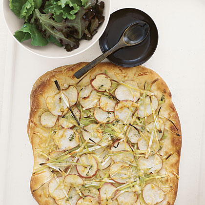 Potato and Leek Flat Bread with GreensRecipe