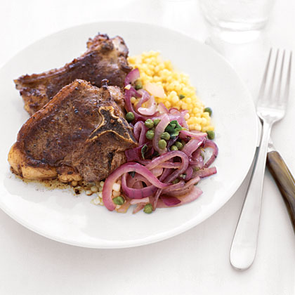 Lamb Chops with Caramelized Red Onion SaladRecipe