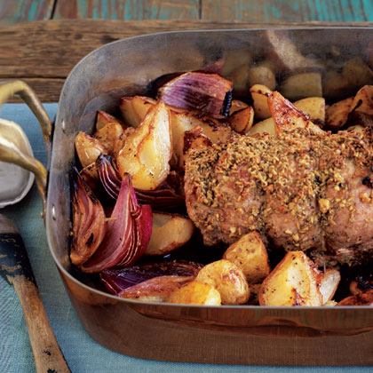 Fennel-Crusted Pork Loin with Roasted Potatoes and Pears Recipe