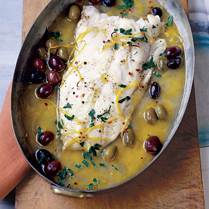 Roasted Pacific Cod with Olives and Lemon Recipe