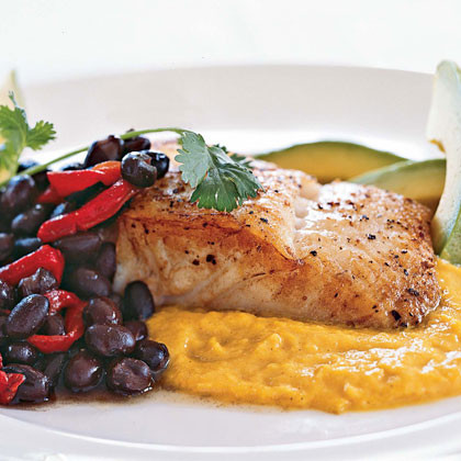 Seared Halibut with Yellow-Pepper SauceRecipe