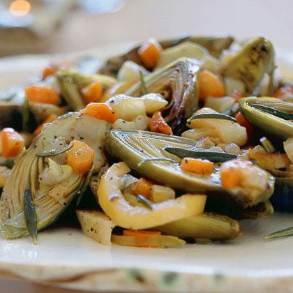 Olive Oil–Braised Artichokes and Soffrito