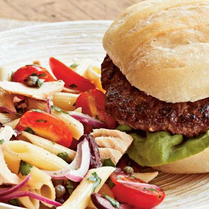 Mediterranean Tuna-Pasta Salad with Brie Burgers
